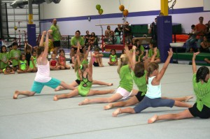 group of girls doing a floor exercise